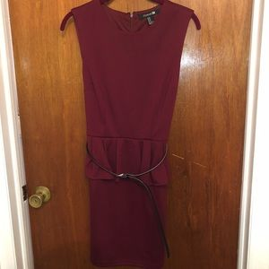 Peplum maroon dress